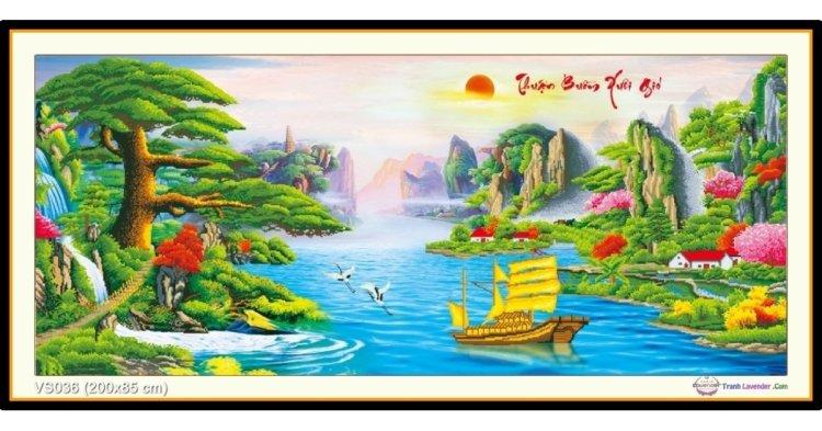 Tranh đính đá Thuận Buồm Xuôi Gió (khổ rất lớn) ✅200x85 cm -️ VS036