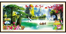 Tranh đính đá Non Nước Hữu Tình (khổ lớn) ✅190x81 cm -️ VS039