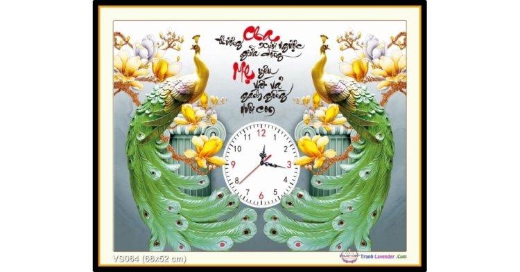 Tranh đính đá Đồng Hồ Cha Mẹ (khổ nhỏ) ✅66x52 cm -️ VS064