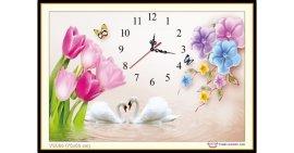 Tranh đính đá Đồng hồ hoa Tulip (khổ nhỏ) ✅75x50 cm -️ VS066
