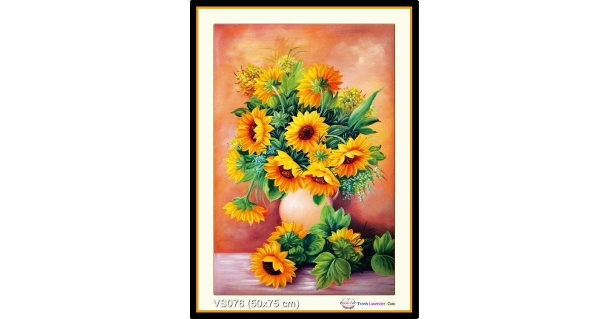 Tranh đính đá Bình hoa Hướng dương (khổ nhỏ) ✅50x75 cm -️ VS076