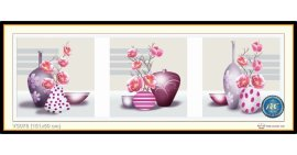 Tranh đính đá Bình hoa nghệ thuật (3 bức) (khổ lớn) ✅151x50 cm -️ VS078