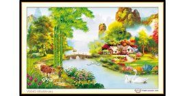 Tranh đính đá Tổ Ấm Hạnh Phúc (khổ nhỏ) ✅80x50 cm -️ VS083