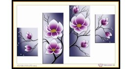 Tranh đính đá Hoa Bốn Bức (khổ lớn) ✅131x73 cm -️ VS108