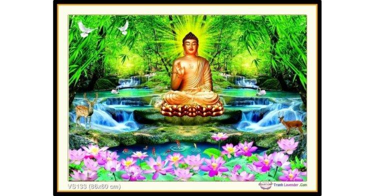 Tranh đính đá A Di Đà Phật (khổ nhỏ) ✅86x60 cm -️ VS133