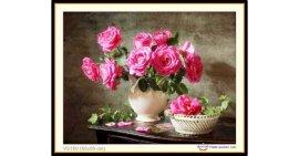 Tranh đính đá Bình hoa hồng (khổ nhỏ) ✅65x50 cm -️ VS150