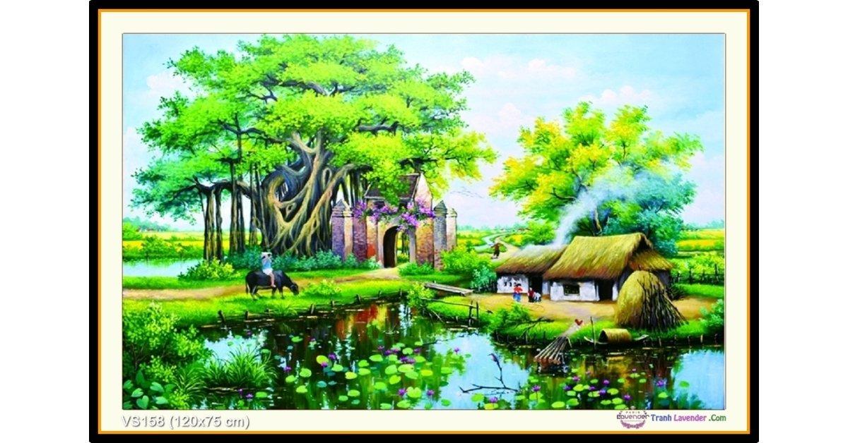Tranh đính đá Quê hương yên bình (khổ lớn) ✅120x75 cm -️ VS158