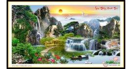 Tranh đính đá Lưu Thủy Sinh Tài (khổ lớn) ✅120x65 cm -️ VS168