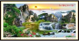 Tranh đính đá Lưu Thủy Sinh Tài (khổ lớn) ✅160x75 cm -️ VS169