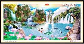 Tranh đính đá Sơn Thủy Hữu Tình (khổ lớn) ✅160x75 cm -️ VS186