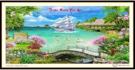 Tranh đính đá Thuận Buồm Xuôi Gió (khổ lớn) ✅160x75 cm -️ VS189