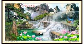 Tranh đính đá Lưu Thủy Sinh Tài (khổ lớn) ✅160x80 cm -️ VS193