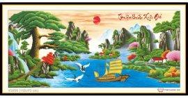 Tranh đính đá Thuận Buồm Xuôi Gió - tùng (khổ lớn) ✅162x73 cm -️ VS200