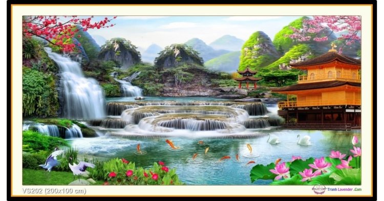 Tranh đính đá Lưu Thủy Sinh Tài (khổ rất lớn) ✅200x100 cm -️ VS202