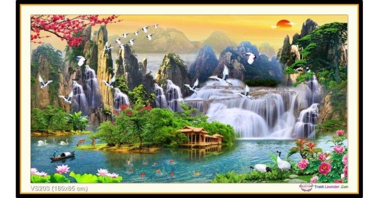 Tranh đính đá Thiên nhiên kỳ diệu (khổ lớn) ✅160x85 cm -️ VS203