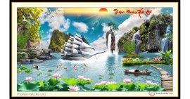 Tranh đính đá Thuận Buồm Xuôi Gió (khổ lớn) ✅120x65 cm -️ VS209