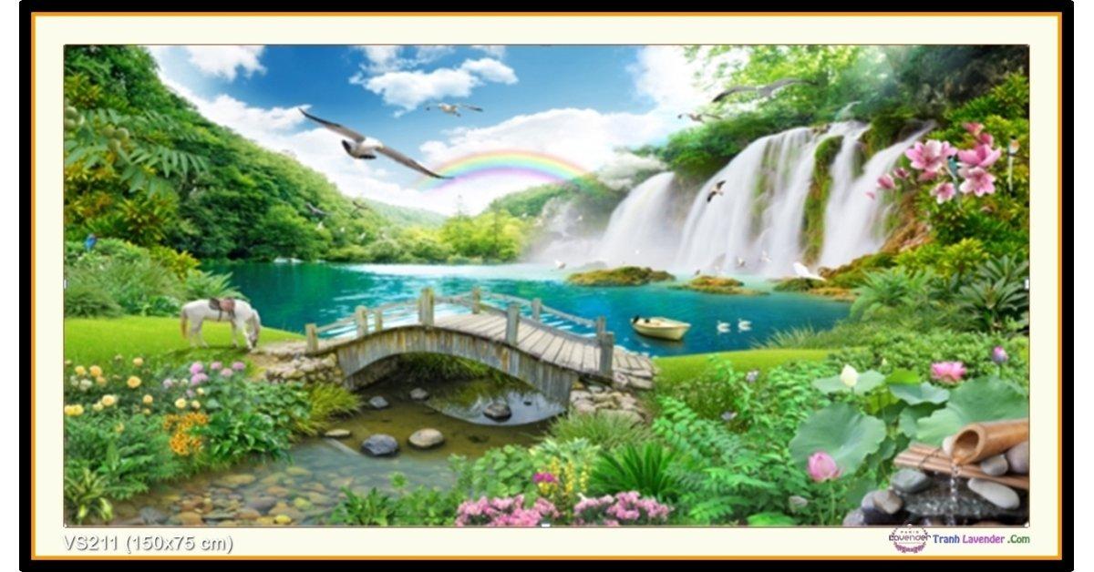 Tranh đính đá Thiên Nhiên Giao Hòa (khổ lớn) ✅150x75 cm -️ VS211