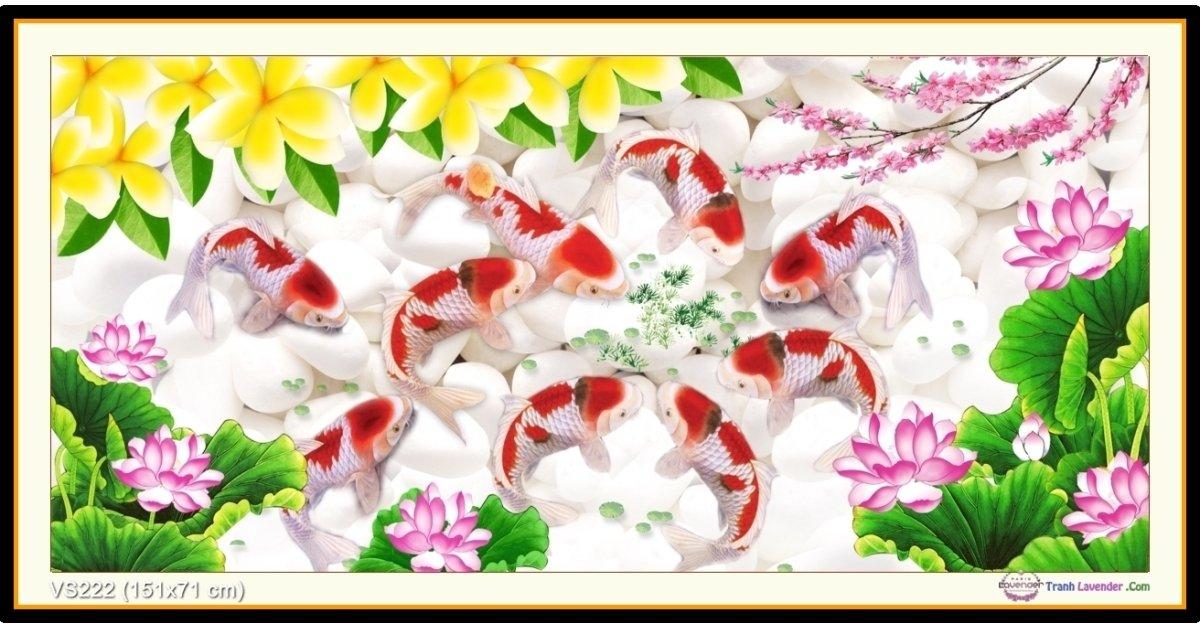 Tranh đính đá Cửu ngư quần hội (khổ lớn) ✅151x71 cm -️ VS222