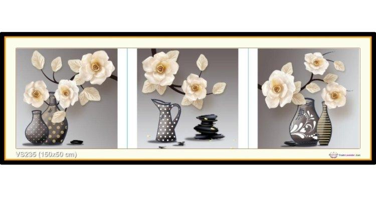Tranh đính đá Bình hoa nghệ thuật (bộ 3) (khổ lớn) ✅150x50 cm -️ VS235