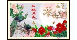 Tranh đính đá Hoa Khai Phú Quý (khổ trung bình) ✅100x60 cm -️ VS247