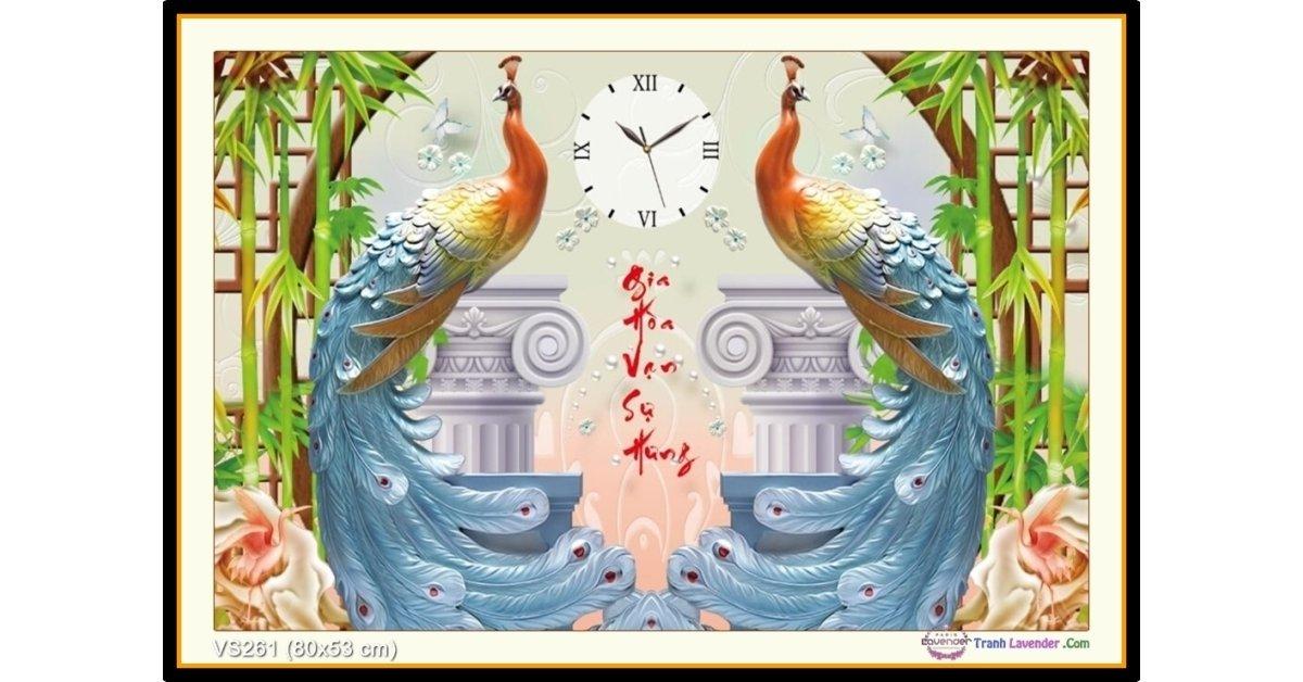 Tranh đính đá Gia Hòa Vạn Sự Hưng (đồng hồ) (khổ nhỏ) ✅80x53 cm -️ VS261