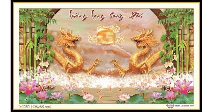 Tranh đính đá Lưỡng Long Song Phú (khổ lớn) ✅120x65 cm -️ VS262