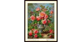 Tranh đính đá Bình hoa hồng cổ (khổ nhỏ) ✅68x50 cm -️ VS279