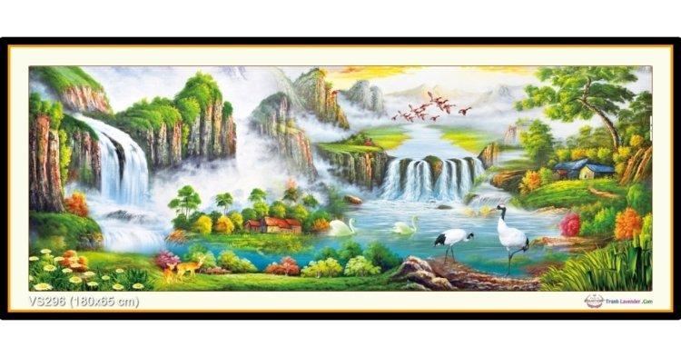 Tranh đính đá Non Nước Hữu Tình (khổ lớn) ✅180x65 cm -️ VS296