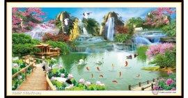 Tranh đính đá Thiên Nhiên Giao Hòa (khổ lớn) ✅150x76 cm -️ VS297