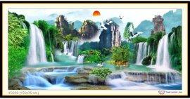 Tranh đính đá Lưu Thủy Sinh Tài (khổ lớn) ✅150x70 cm -️ VS302