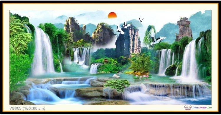 Tranh đính đá Lưu Thủy Sinh Tài (khổ lớn) ✅180x85 cm -️ VS303