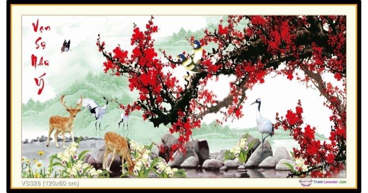 Tranh đính đá Vạn Sự Như Ý (khổ lớn) ✅120x60 cm -️ VS328