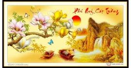 Tranh đính đá Phú Quý Cát Tường (khổ nhỏ) ✅100x50 cm -️ VS347