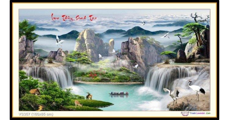 Tranh đính đá Lưu Thủy Sinh Tài (khổ lớn) ✅160x85 cm -️ VS357