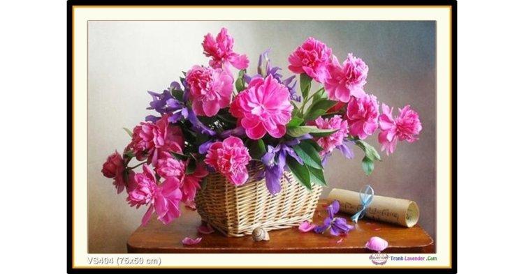 Tranh đính đá Giỏ hoa (1) (khổ nhỏ) ✅75x50 cm -️ VS404