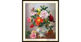 Tranh đính đá Bình hoa hồng (khổ nhỏ) ✅65x55 cm -️ VS408