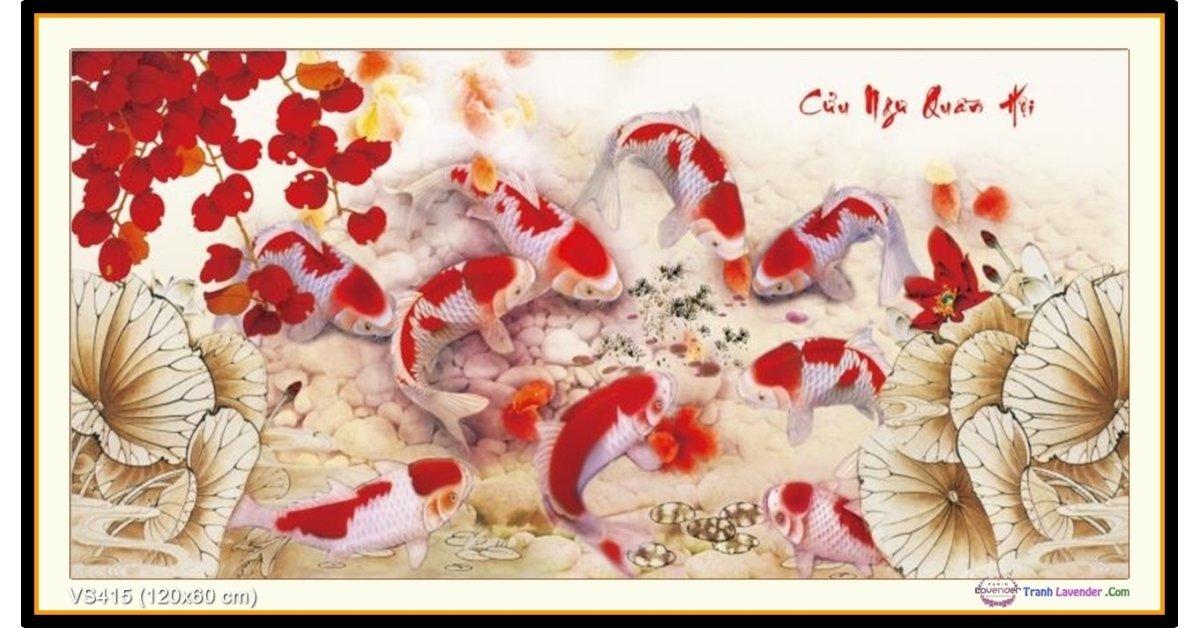 Tranh đính đá Cửu Ngư Quần Hội (khổ lớn) ✅120x60 cm -️ VS415