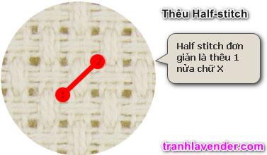 Hướng dẫn thêu Half Stitch tranh chữ thập