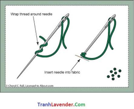 Hướng dẫn thêu mũi con bọ French Knot tranh chữ thập