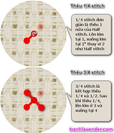 Hướng dẫn thêu mũi Quarter (1/4) và mũi Three Quarter (3/4)