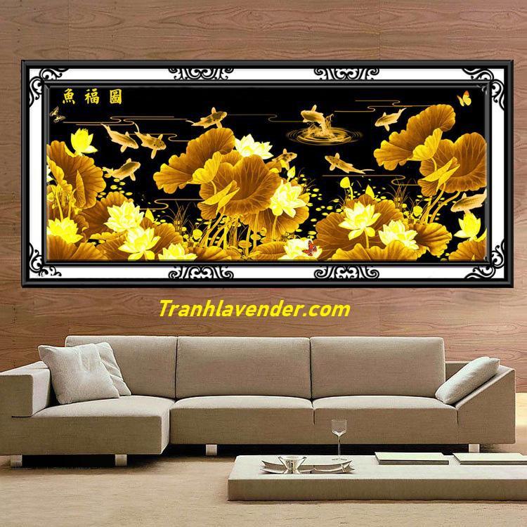 tranh thêu kín đầm sen vàng FJ0589