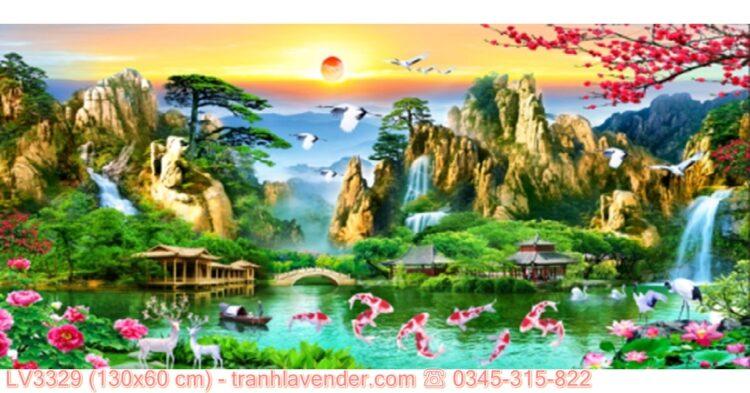 Tranh Lưu Thủy Sinh Tài thêu chữ thập 3D ✅ T-LV3329 ❤️(kích thước 130x60 cm)