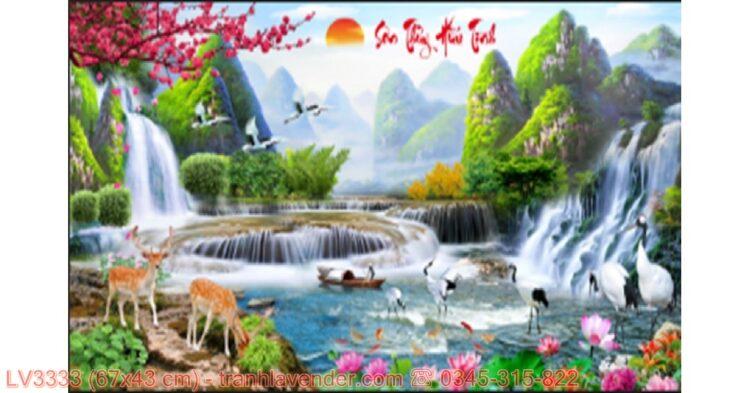 [T-LV3333] Tranh Lưu Thủy Sinh Tài thêu chữ thập kích cỡ nhỏ 67x43 cm