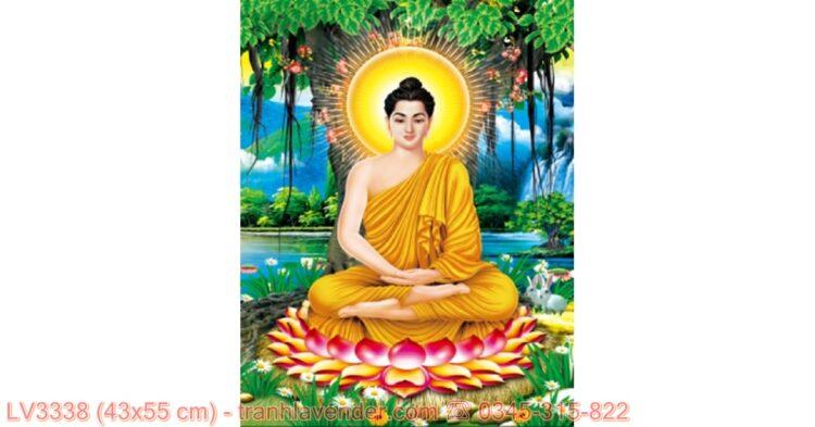 [T-LV3338] Tranh Phật Thích Ca Mâu Ni thêu chữ thập kích cỡ nhỏ 43x55 cm