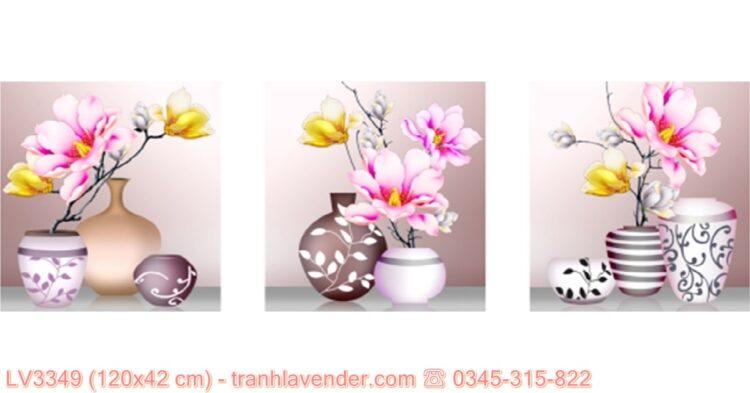 [T-LV3349] Tranh Bình hoa nghệ thuật (Bộ 3) thêu chữ thập kích cỡ nhỏ 120x42 cm