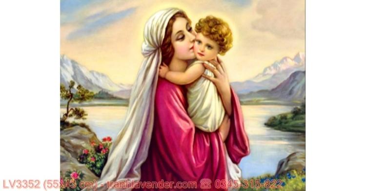 [T-LV3352] Tranh Tình yêu đức mẹ Maria thêu chữ thập kích cỡ nhỏ 55x43 cm