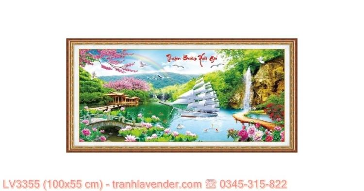 [T-LV3355] Tranh Thuận Buồm Xuôi Gió thêu chữ thập kích cỡ nhỏ 100x55 cm