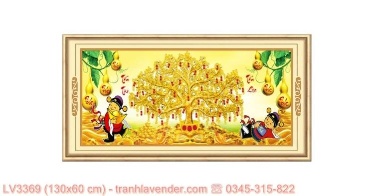[T-LV3369] Tranh Tấn Tài Tấn Lộc thêu chữ thập kích cỡ lớn 130x60 cm