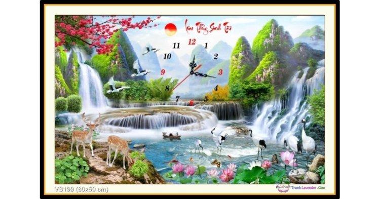 Tranh đính đá Lưu Thủy Sinh Tài (khổ nhỏ) ✅80x50 cm -️ VS199