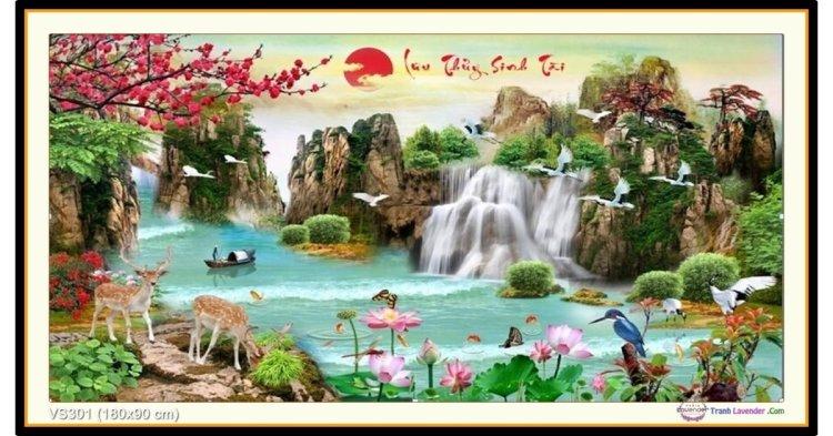 Tranh đính đá Lưu Thủy Sinh Tài (khổ rất lớn) ✅180x90 cm -️ VS301